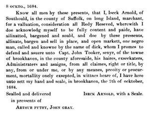 1684.BrkhvnRec Vol 1 p52.Dick_Isaac Arnold to Tooker.JPG
