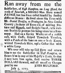 RUNAWAY - PRINCE - EAST HAMPTON Connecticut_Gazette_1773-07-09_[1].png